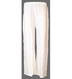 Bonie White Reyon Plain Palazzo Trousers For Women - 0480