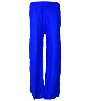 Bonie Royal Blue Reyon Plain Palazzo Trousers For Women - 0492