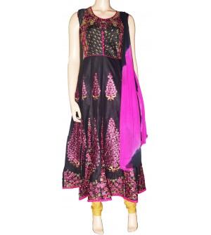 Leeva Designer-1009 Bottom Flower Stone Work Design Embroidered Cotton Salwar Suit - 1424