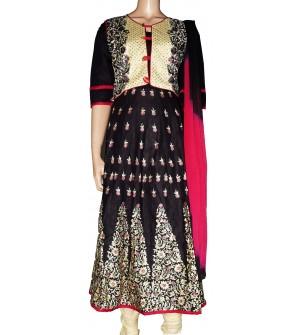 Leeva Designer Bottom Flower Design Top Stone Work Embroidered Cotton Salwar Suit  - 1441