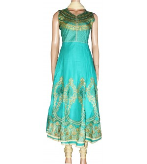 Western Bottom Flower Design Embroidered Cotton Salwar Suit (Mojito Green) - 1450