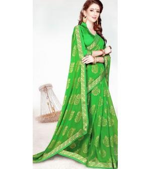 Leesa Virasat Parrot Green Saree With Unstitched Blouse