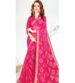 Leesa Virasat Magenta Pink Saree With Unstitched Blouse