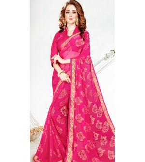 Leesa Virasat Magenta Pink Saree With Unstitched Blouse