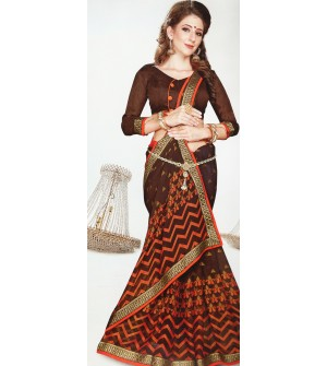 Leesa Virasat Brown Saree With Unstitched Blouse