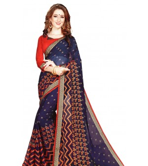 Leesa Virasat Navy Blue Saree With Unstitched Blouse