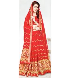 Leesa Virasat Red Saree With Unstitched Blouse
