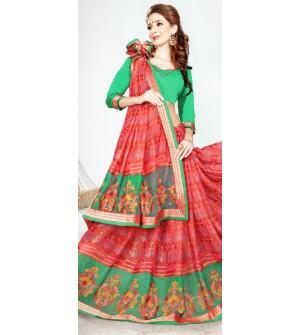 Leesa Virasat Peach.Green Saree With Unstitched Blouse