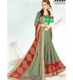 Leesa Virasat Rama Green Saree With Unstitched Blouse