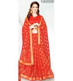 Leesa Virasat Maroon Saree With Unstitched Blouse