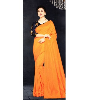 Veeshree Orange Surat Pattu Saree With Blouse