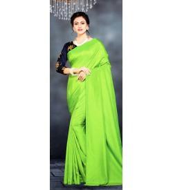 Veeshree Parrot Green Surat Pattu Saree With Blouse