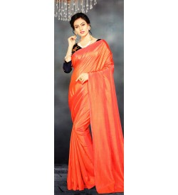Veeshree Papaya Orange Surat Pattu Saree With Blouse
