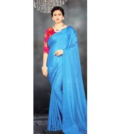 Veeshree Sky Blue Surat Pattu Saree With Blouse