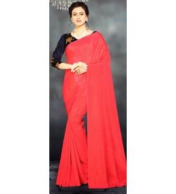 Veeshree Coral Peach Surat Pattu Saree With Blouse