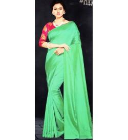Veeshree Turquoise Green Surat Pattu Saree With Blouse