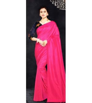 Veeshree Magenta Pink Surat Pattu Saree With Blouse