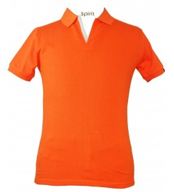 Spirit Mens Casual Plain Collar T-Shirt (Orange) - 1106