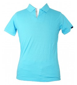 Spirit Mens Casual Plain Collar T-Shirt (Aqua Blue) - 1108