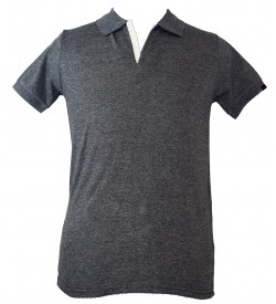 Spirit Mens Casual Plain Collar T-Shirt (Charcol Melange) - 1110