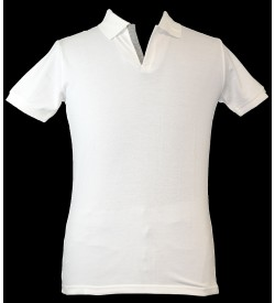 Spirit Mens Casual Plain Collar T-Shirt (White) - 1112