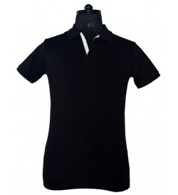 Spirit Mens Casual Plain Collar T-Shirt (Black) - 1116
