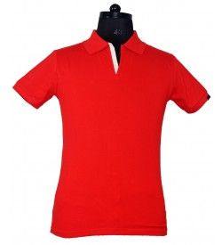 Spirit Mens Casual Plain Collar T-Shirt (Red) - 1118