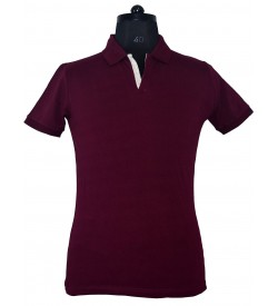 Spirit Mens Casual Plain Collar T-Shirt (Maroon) - 1122