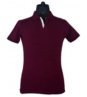 Spirit Mens Casual Plain Collar T-Shirt (Maroon) - 1122