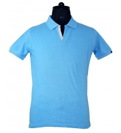 Spirit Mens Casual Plain Collar T-Shirt (Sky Blue) - 1124