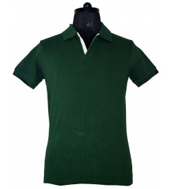 Spirit Mens Casual Plain Collar T-Shirt (Bottle Green) - 1126