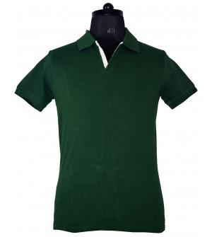 Spirit Mens Casual Plain Collar T-Shirt (Bottle Green) - 1126