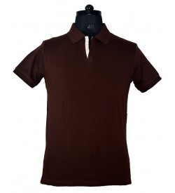 Spirit Mens Casual Plain Collar T-Shirt (C.Brown) - 1128