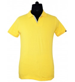 Spirit Mens Casual Plain Collar T-Shirt (Lemon Yellow) - 1130