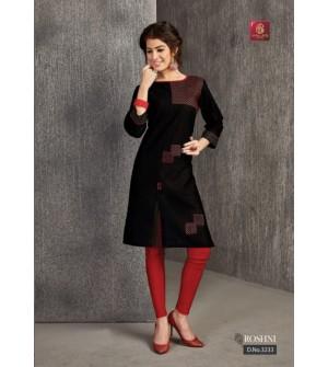 Valas Roshni Emp Printed Kurti 3/4 Sleeve For Women ( Black ) - 3233