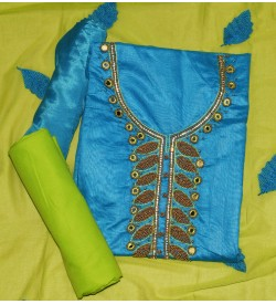 Wani Dolly Skyblue Colored Partywear Embroidered Modal Dress Material (Un-stitched) With Dupatta