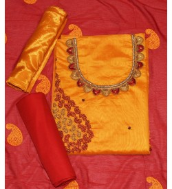 Wani Moti Nack Dark Yellow Colored Partywear Embroidered Modal Dress Material (Un-stitched) With Dupatta