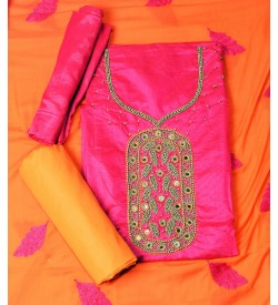 Wani Global Stawberry Pink Colored Partywear Embroidered Modal Dress Material (Un-stitched) With Dupatta