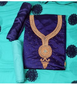 Wani Nikku Navyblue Colored Partywear Embroidered Modal Dress Material (Un-stitched) With Dupatta