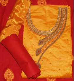 Wani Tan Man Yellow Colored Partywear Embroidered Modal Dress Material (Un-stitched) With Dupatta