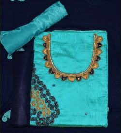 Wani Tan Man Peacock Green Colored Partywear Embroidered Modal Dress Material (Un-stitched) With Dupatta