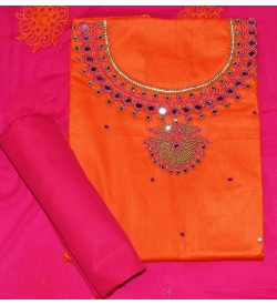 Wani Sanskruti Papaya Orange Colored Partywear Embroidered Modal Dress Material (Un-stitched) With Dupatta