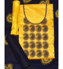 Wani Mazza Yellow Colored Partywear Embroidered Mango Modal Dress Material (Un-stitched) With Dupatta