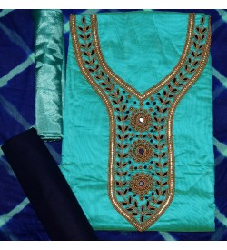Wani Raj Nack Green Colored Partywear Embroidered Modal Dress Material (Un-stitched) With Dupatta