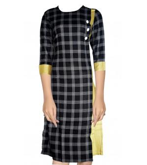 She's Studio-6207 Fancy Black Checks Long 3/4 Sleeve Kurti For Women's And Girls
