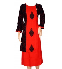 Maatra Red,Black Colour New Design Full Sleeve Long Kurti For Women's And Girls