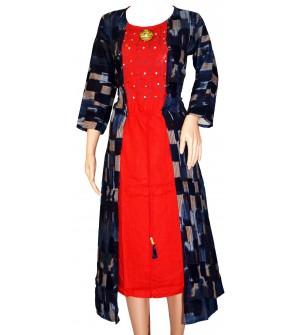 Fancy Design Long Red Full Sleeve Kurti For Women's And Girls