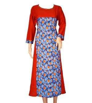 Fancy Leaf Design Muticolour Design Full Sleeve Kurti For Women's And Girls