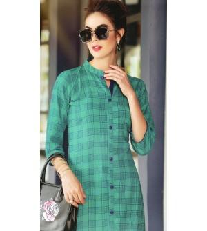 VALAS PRISHA RAYON TURQUOISE GREEN CHECKS PRINT Full Stitched KURTIS FOR WOMEN&GIRLS