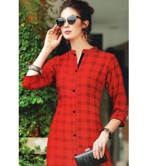 VALAS PRISHA RAYON RED CHECKS PRINT Full Stitched KURTIS FOR WOMEN&GIRLS